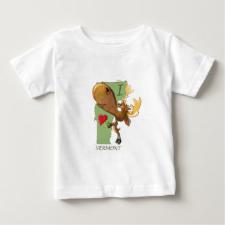 "Kirby the Moose Vermoosin' ""I Heart Vermont"" Baby T-Shirt"