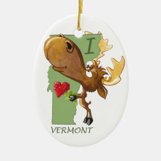 "Kirby the Moose Vermoosin' ""I Heart Vermont"" Ceramic Ornament"