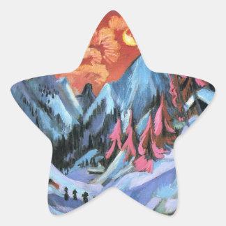 Kirchner Winter Landscape in Moonlight Star Stickers