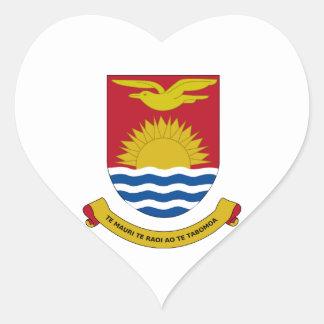 Kiribati Coat of Arms Heart Stickers