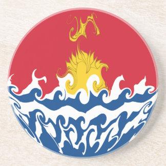 Kiribati Gnarly Flag Beverage Coaster