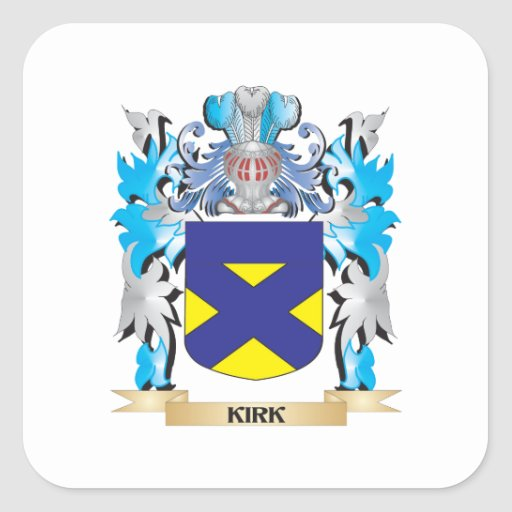 Kirk Coat of Arms - Family Crest Square Stickers