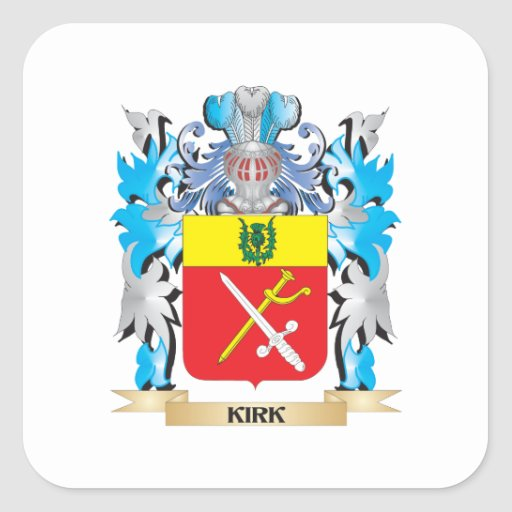Kirk- Coat of Arms - Family Crest Square Sticker