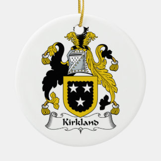 Kirkland Family Crest Double-Sided Ceramic Round Christmas Ornament