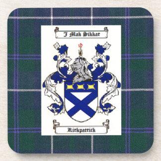 Kirkpatrick Crest on Douglas Blue Tartan Beverage Coasters