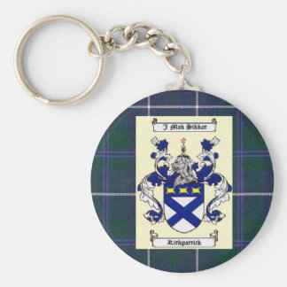 Kirkpatrick Crest on Douglas Blue Tartan Key Chains