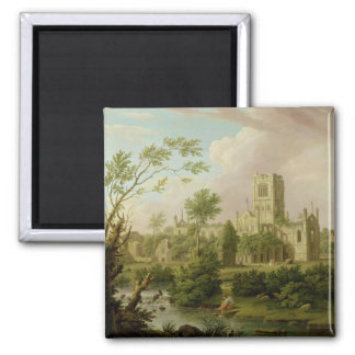 Kirkstall Abbey, Yorkshire, 1747 (oil on canvas) 2 Inch Square Magnet