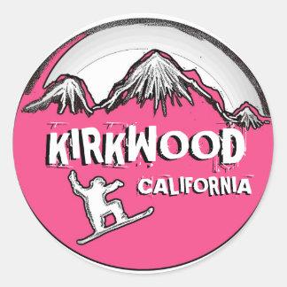 Kirkwood California pink snowboarder stickers