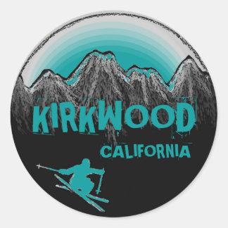 Kirkwood California teal skier stickers