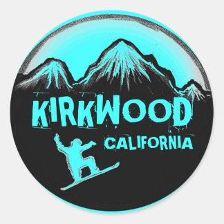 Kirkwood California teal snowboard stickers