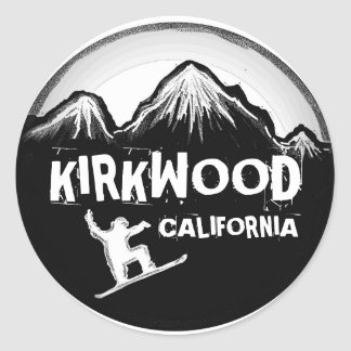 Kirkwood California white snowboard stickers