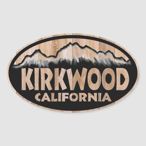 Kirkwood California wood sign oval stickers