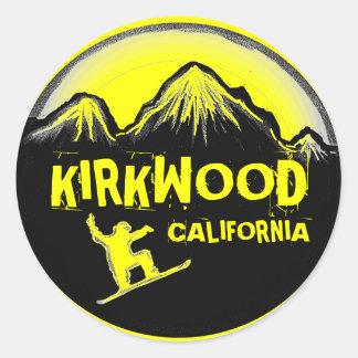 Kirkwood California yellow snowboard stickers