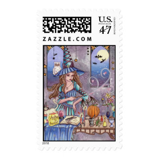 Kirra - Witch, Cat and Owl Postage Stamp