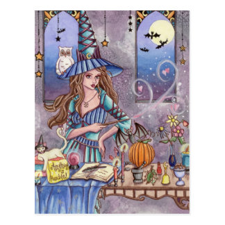 Kirra - Witch, Cat and Owl Postcard
