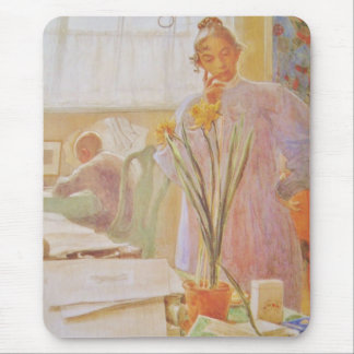 Kirst Looking at Potted Daffodil Mouse Pad