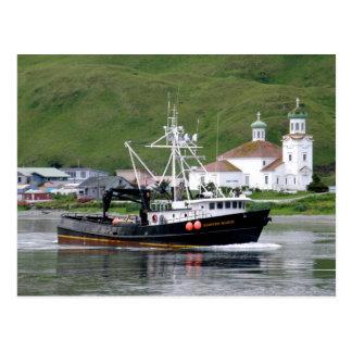 Kirsten Marie passing the City of Unalaska, Alaska Post Cards