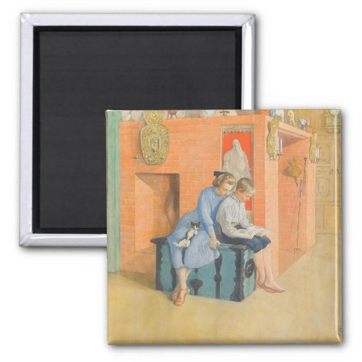 Kirsti and Esbjorn Reading a Book Together 2 Inch Square Magnet