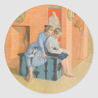 Kirsti and Esbjorn Reading a Book Together Classic Round Sticker