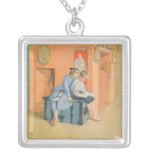 Kirsti and Esbjorn Reading a Book Together Square Pendant Necklace