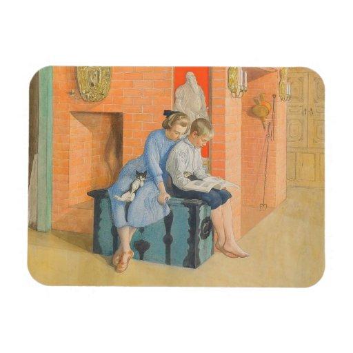 Kirsti y Esbjorn que leen un libro junto Imán Flexible