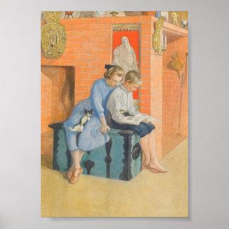 Kirsti y Esbjorn que leen un libro junto Póster