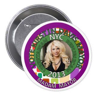 Kirstin Davis para el alcalde de NYC en 2013 Pin Redondo De 3 Pulgadas