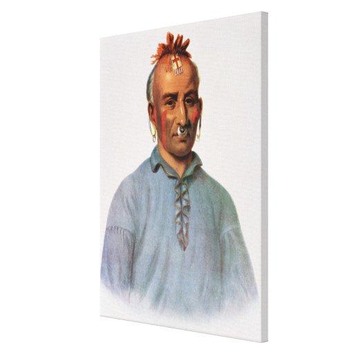 Kish-Kal-Wa, jefe del Shawnee Impresión En Lienzo