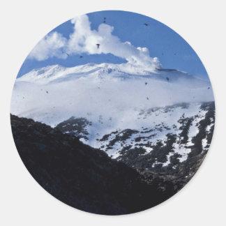 Kiska Island volcano and auklet colony Classic Round Sticker