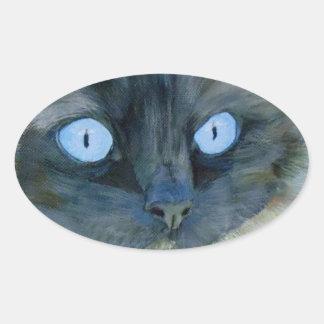 Kismet el gato de Ragdoll Pegatina Ovalada