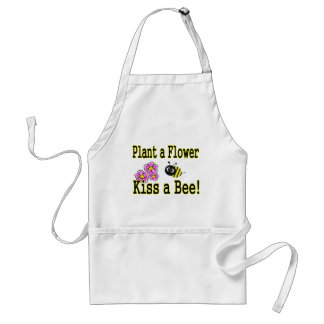 Kiss a bee with pink flowers adult apron