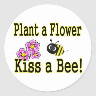 Kiss a bee with pink flowers classic round sticker