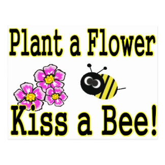 Kiss a bee with pink flowers postcard