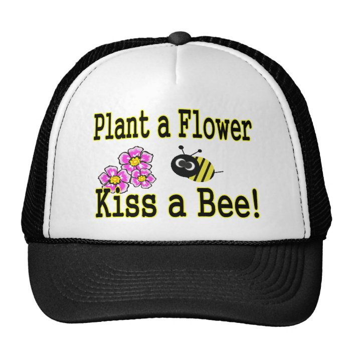 Kiss a bee with pink flowers trucker hat