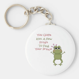 Kiss A Few Frogs Basic Round Button Keychain