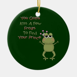 Kiss A Few Frogs Ceramic Ornament