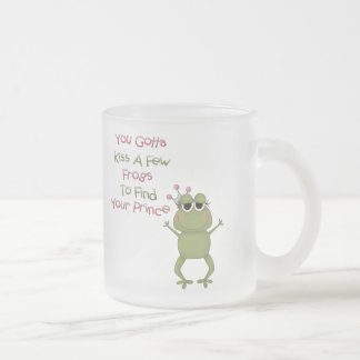 Kiss A Few Frogs Frosted Glass Coffee Mug