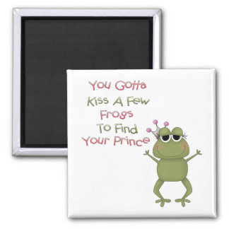 Kiss A Few Frogs 2 Inch Square Magnet