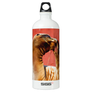 Kiss and love sea lion beach sand sea aluminum water bottle