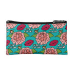 Kiss and Makeup Pink Roses and Red Lips Cosmetic Bag