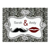 kiss and mustache zebra save the date cards