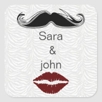kiss and mustache zebra stripes envelope seal