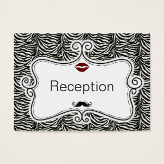 kiss and mustache zebra stripes reception cards