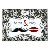 kiss and mustache zebra stripes save the date card