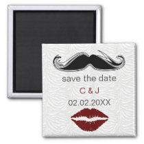 kiss and mustache zebra stripes save the date magnet