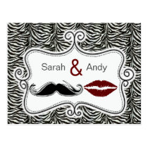 kiss and mustache zebra stripes thank you cards