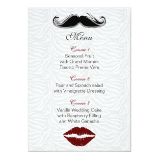 kiss and mustache zebra stripes wedding menu card