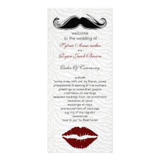 kiss and mustache zebra stripes wedding program