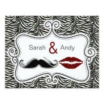kiss and mustache zebra stripes wedding rsvp cards