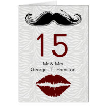 kiss and mustache zebra wedding table seating card